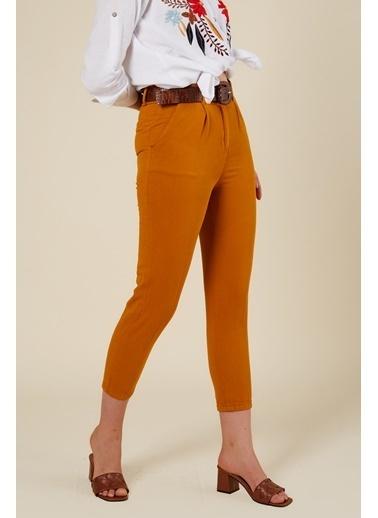 Coral Büzgülü Pamuk Pantolon Amber Oranj